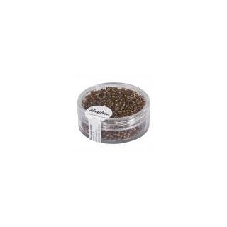 Rocailles, 2 mm ø, avec garniture argen brun foncé