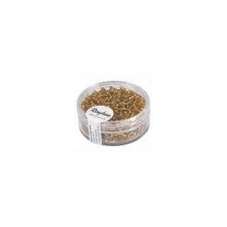 Rocailles, 2 mm ø, avec garniture argent  or