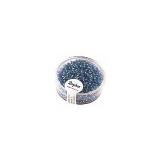 Rocailles, 2 mm ø,avec garniture argent bleu clair