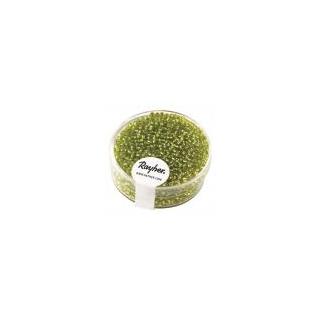 Rocailles, 2 mm ø, avec garniture argen vert clair