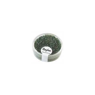 Rocailles, 2 mm ø, avec garniture argent  jade