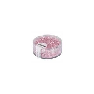 Rocailles, 2 mm ø, avec garniture argent  rose