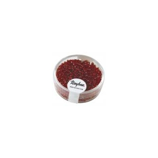 Rocailles, 2 mm ø, avec garniture argent   rouge