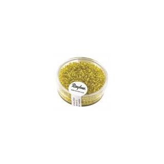 Rocailles, 2 mm ø, avec garniture argent  jaune