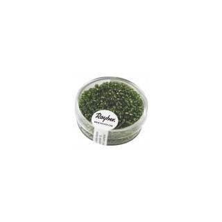 Rocailles, 2 mm ø, avec garniture argen vert moyen