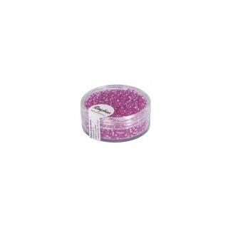 Rocailles, 2 mm ø, avec garniture argen rose fonce