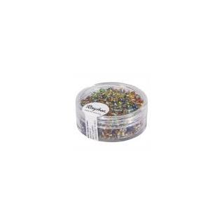 Rocailles, 2 mm ø, avec garniture argent assorties